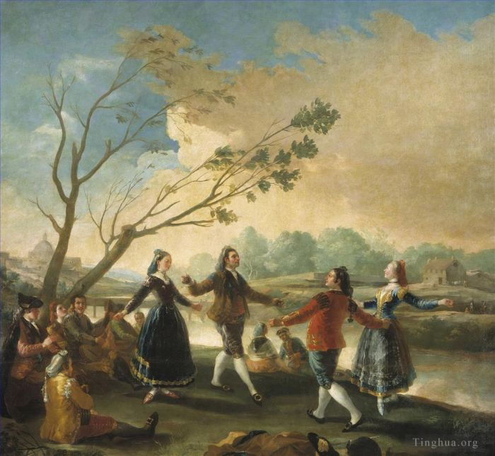 弗朗西斯科·戈雅 的油画作品 -  《Dance of the Majos at the Banks of Manzanares》